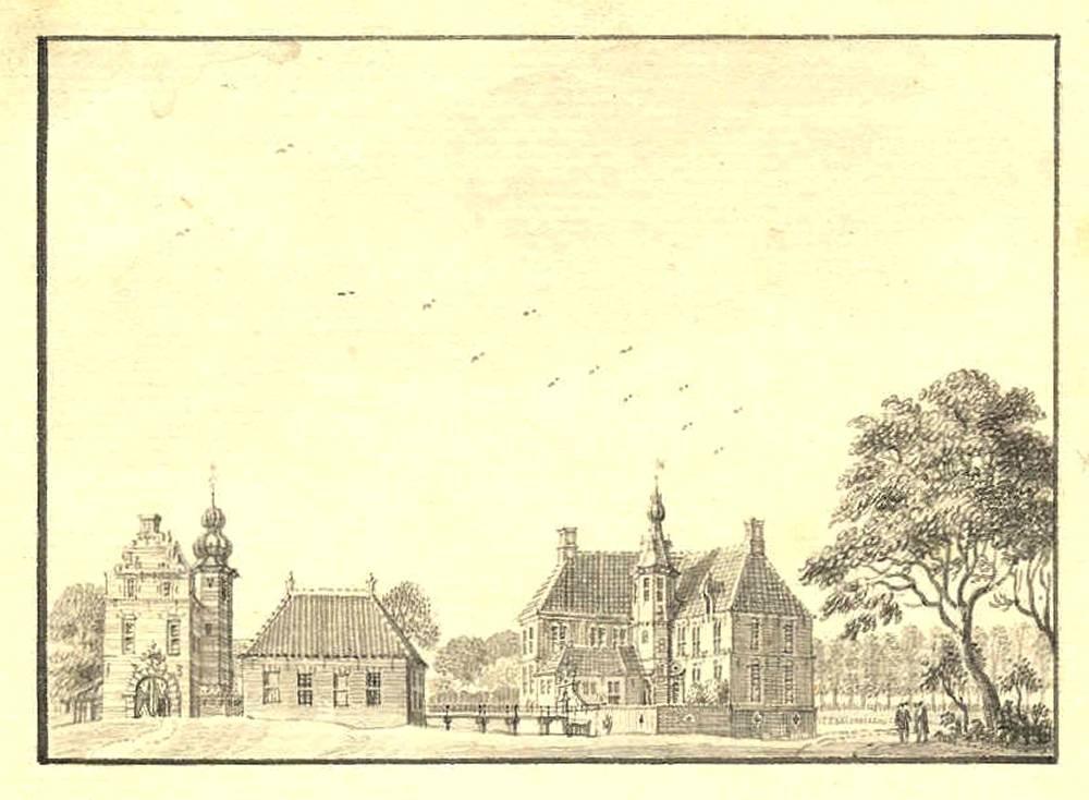 Kasteel Vorden in Vorden. Tekening Jan de Beijer, 1743